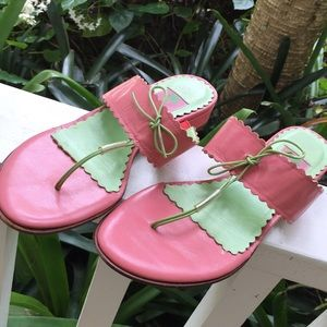 LILLY PULITZER T-STRAP SANDALS